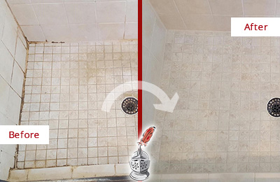 Before and After Picture of a Baldwin Shower Caulked to Fix Cracks