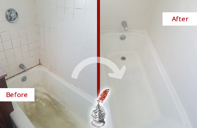 Before and After Picture of a Baldwin Bathtub Caulked to Repair Cracks
