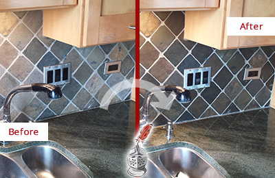 Before and After Picture of a Baldwin Backsplash Caulked to Fix and Prevent Water Leaks