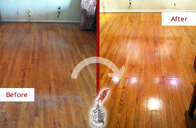Before and After Picture of a East Meadow Wood Sandless Refinishing Service on a Stained Floor