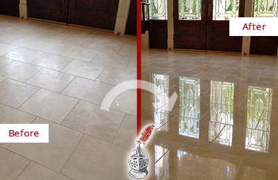 Before and After Picture of a Dull Carle Place Travertine Stone Floor Polished to Recover Its Gloss