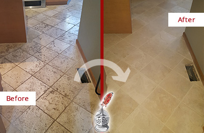 Before and After Picture of a Long Beach Kitchen Marble Floor Cleaned to Remove Embedded Dirt