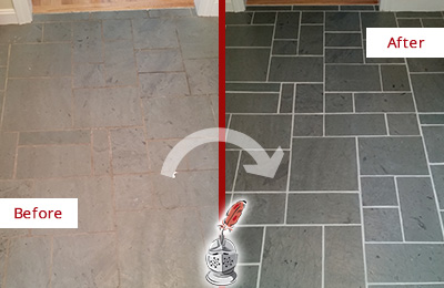 Before and After Picture of a Long Beach Slate Floor Cleaned to Remove Deep-Seated Dirt