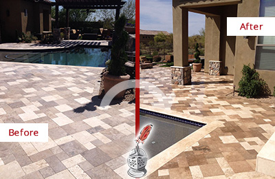 Before and After Picture of a Dull Freeport Travertine Pool Deck Cleaned to Recover Its Original Colors