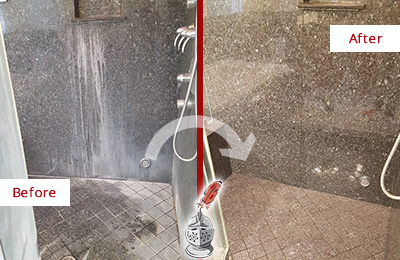 Before and After Picture of a Long Beach Granite Shower Cleaned to Remove Mineral Deposits