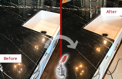Before and After Picture of a Great Neck Marble Kitchen Countertop Stone Sealed to Avoid Water Damage