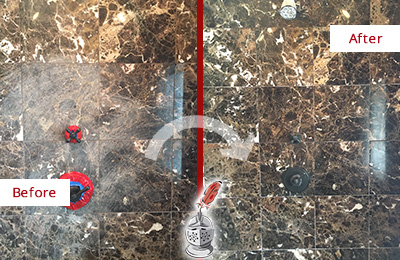 Before and After Picture of a East Rockaway Marble Shower Honed to Remove Scratches