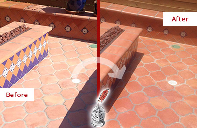 Before and After Picture of a Port Washington Hard Surface Restoration Service on a Dull Terracotta Patio Floor to Recover Its Color