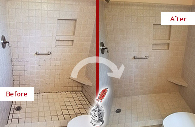 Before and After Picture of a Jericho Shower Grout Cleaned to Remove Mold