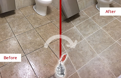 Before and After Picture of a Lawrence Office Restroom Floor Recolored Grout