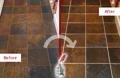 Before and After Picture of a Lawrence Slate Floor Recolored Grout