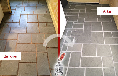 Before and After Picture of Damaged East Meadow Slate Floor with Sealed Grout
