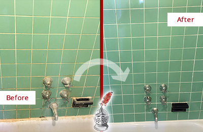 Before and After Picture of a East Meadow Bath Tub Grout Sealed to Avoid Water Damage