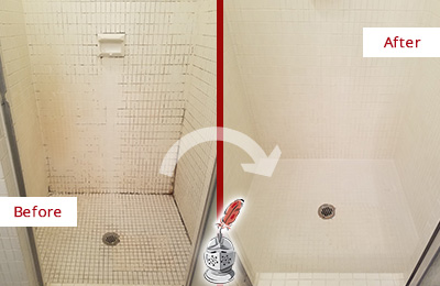 Before and After Picture of a Farmingdale Bathroom Grout Sealed to Remove Mold