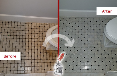 Before and After Picture of a Lynbrook Bathroom Floor Cleaned to Remove Embedded Dirt