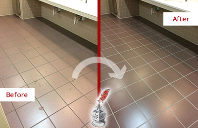 Before and After Picture of a Old Bethpage Restrooms Tile and Grout Cleaned to Remove Embedded Dirt