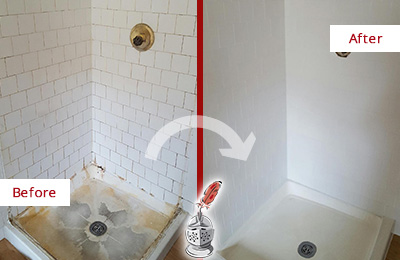 Before and After Picture of a Old Bethpage Shower Tile and Grout Cleaned to Remove Soap Scum