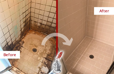 Before and After Picture of a Old Bethpage Shower Tile and Grout Cleaned to Repair Water Damage