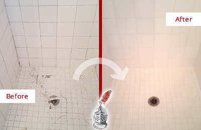 Before and After Picture of a Seaford Bathroom Re-Caulked To Repair Damaged Caulking