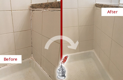 Before and After Picture of a Old Westbury Shower Caulked to Repair Damaged Caulking