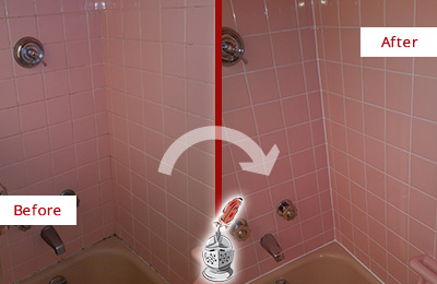 Before and After Picture of a Old Westbury Bathtub Caulked to Eliminate Mold