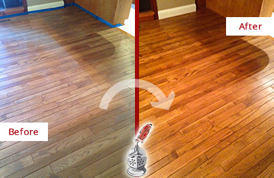 Before and After Picture of a Glenwood Landing Wood Sandless Refinishing Service on a Dull Floor to Recover Its Sheen