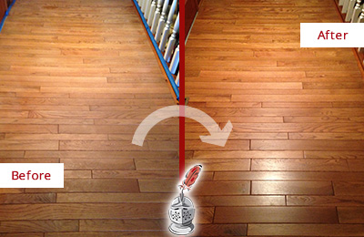 Before and After Picture of a Bethpage Wood Sandless Refinishing Service on a Dull Hallway