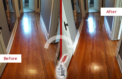 Before and After Picture of a Bethpage Wood Sandless Refinishing Service on a Floor to Eliminate Scratches
