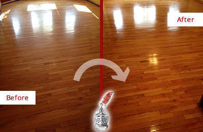 Before and After Picture of a Bethpage Wood Sandless Refinishing Service on a Room Floor to Remove Scratches