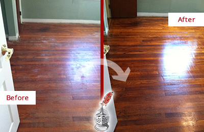 Before and After Picture of a Bethpage Wood Sandless Refinishing Service on a Dull Floor to Remove Stains