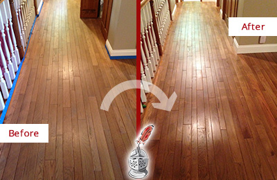 Before and After Picture of a Glenwood Landing Wood Sandless Refinishing Service on a Worn Out Floor