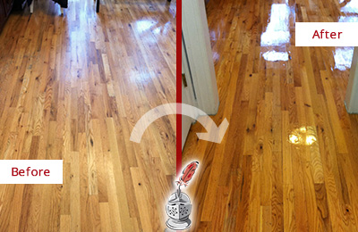 Before and After Picture of a Bethpage Wood Sandless Refinishing Service on a Worn Out Hallway