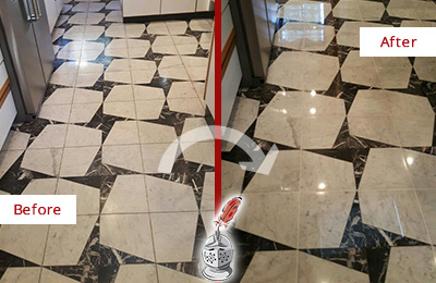 Before and After Picture of a Dull Woodmere Marble Stone Floor Polished To Recover Its Luster