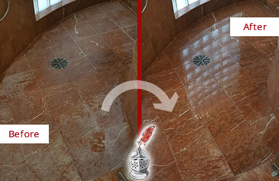 Before and After Picture of a Woodmere Marble Stone Shower Polished to Eliminate Mineral Deposits
