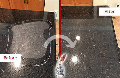 Before and After Picture of a Woodmere Granite Stone Countertop Polished to Remove Scratches