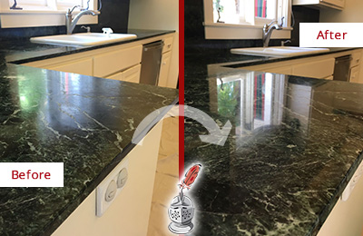 Before and After Picture of a Valley Stream Marble Stone Counter Polished to Eliminate Water Marks