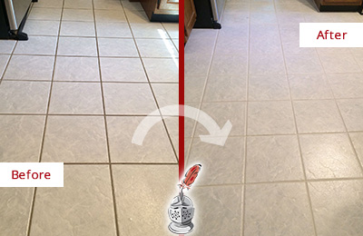 Before and After Picture of a Massapequa Park Kitchen Ceramic Floor Sealed to Protect From Dirt and Spills