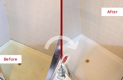 Before and After Picture of a Massapequa Park Shower Sealed to Remove and Protect Against Mold