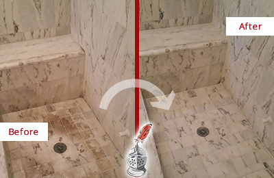 Before and After Picture of a Dirty Belleville Marble Shower Cleaned to Eliminate Dark Stains