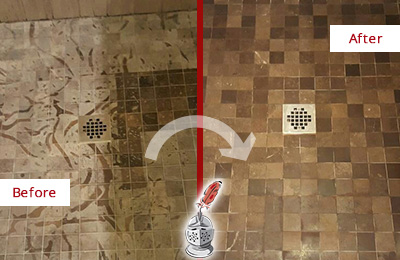 Before and After Picture of a Stained Baldwin Marble Shower Floor Cleaned to Remove Etching