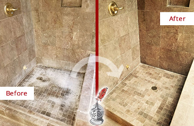 Before and After Picture of a Belleville Travertine Shower Cleaned to Eliminate Water Spots