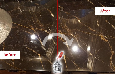 Before and After Picture of a Malverne Marble Countertop Cleaned to Remove Water Spots