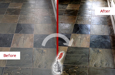 Before and After Picture of a Huntington Slate Stone Floor Sealed to Eliminate Dullness