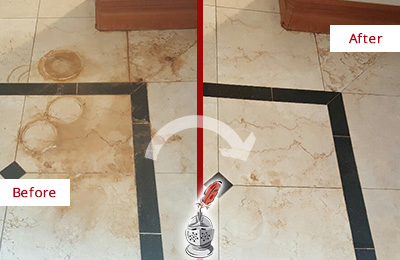 Before and After Picture of a Bethpage Marble Floor Honed to Remove Rust Stains