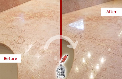 Before and After Picture of a Bethpage Marble Vanity Top Honed to Eliminate Water Spots