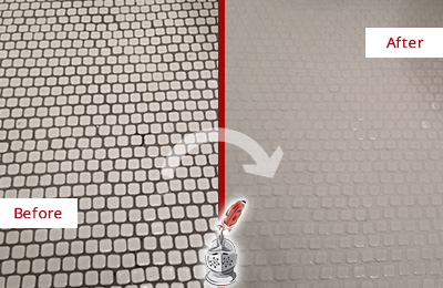 Before and After Picture of a East Rockaway Hard Surface Restoration Service on a Bathroom Tile Floor Recolored to Fix Grout Color