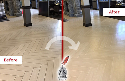 Before and After Picture of a Island Park Lobby Floor Cleaned to Even the Grout Color