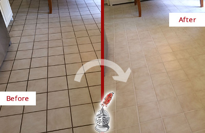Before and After Picture of a Bayville Kitchen Tile Floor with Recolored Grout
