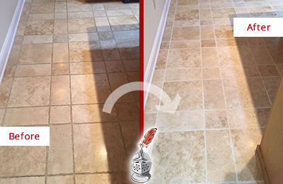 Before and After Picture of a Port Washington Travertine Kitchen Floor Recolored Grout