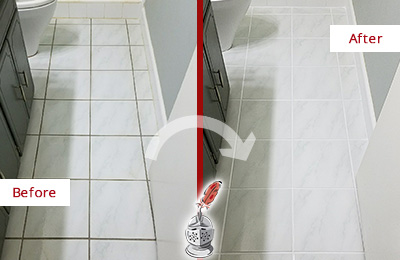 Before and After Picture of a Bayville White Ceramic Tile with Recolored Grout